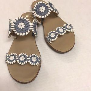 "Jack Rogers ""Lauren""  Blue Raffia Sandals"
